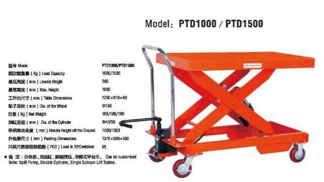 Xe nâng mặt bàn PTD1000 (loại đặc biệt)